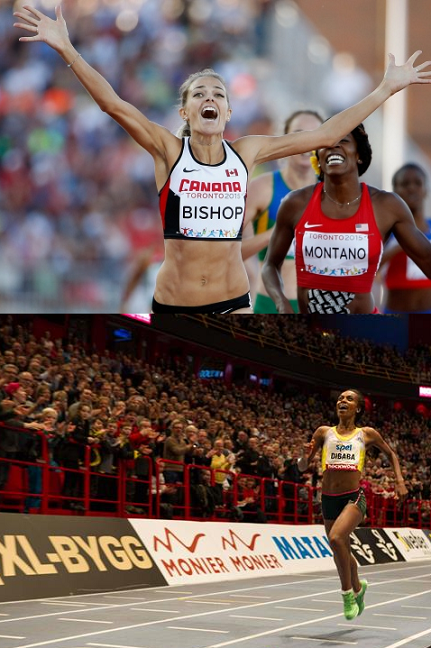 Bishop (top) and Dibaba with record-setting performances.