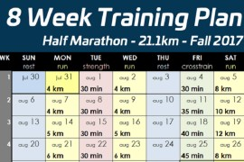 8 week half marathon training for beginners