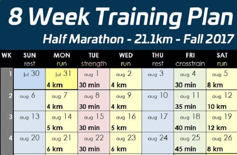 8 week half marathon training for beginners