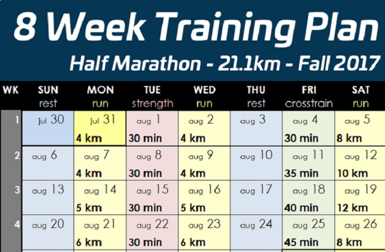 Half marathon training program novice